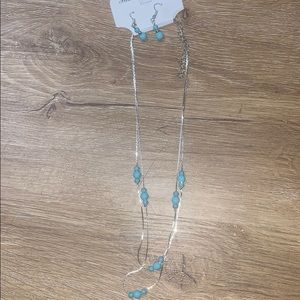 Turquoise silver necklace and earring set